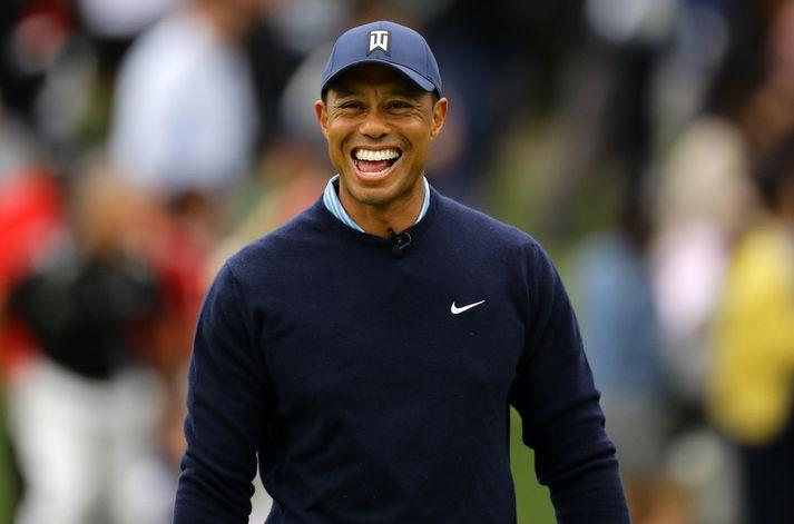 Það er létt yfir Tiger Woods þessa dagana.