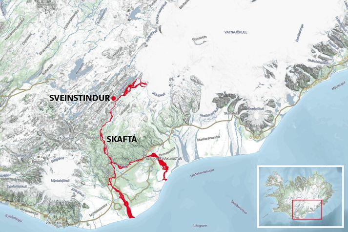 Á korti má sjá Sveinstind og árfarvegi Skaftár, Eldvatns og Kúðafljóts, en um 80% hlaupvatnsins gæti skilað sér í hinar síðarnefndu. Hlaupið hefur náð mæli á tindinum.