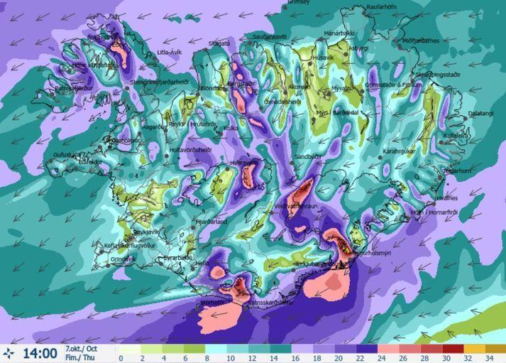 Vindakort fyrir klukkan 14 í dag. Gular veðurviðvaranir vegna vinds eru í gildi á sunnanverðu landinu og síðar einnig á Vestfjörðum og vindhviðum kringum 35 metrar á sekúndu mælast við fjöll.