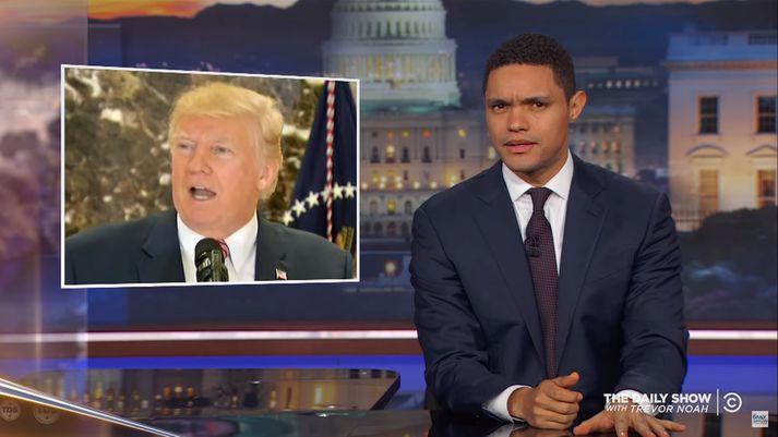 Í Daily Show í gær var búið að taka saman mismunandi viðbrögð Trump og Fox við árásinni í Las Vegast og árásinni í New York, meðal annars.