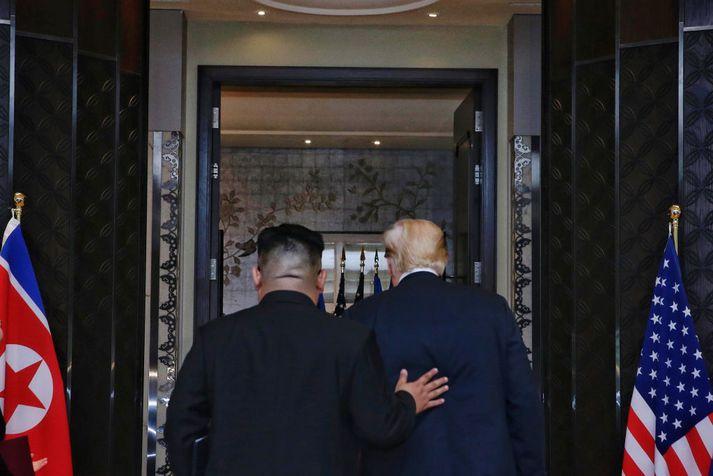 """Trump talaði um Kim sem """"hæfileikaríkan"""" og sagðist viss um að hann vildi þjóð sinni vel."""