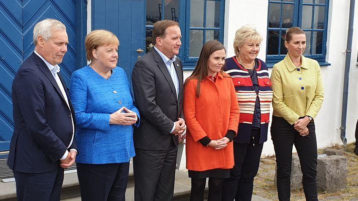 Forsætisráðherrar Norðurlandanna ásamt Angelu Merkel í Viðey í dag.
