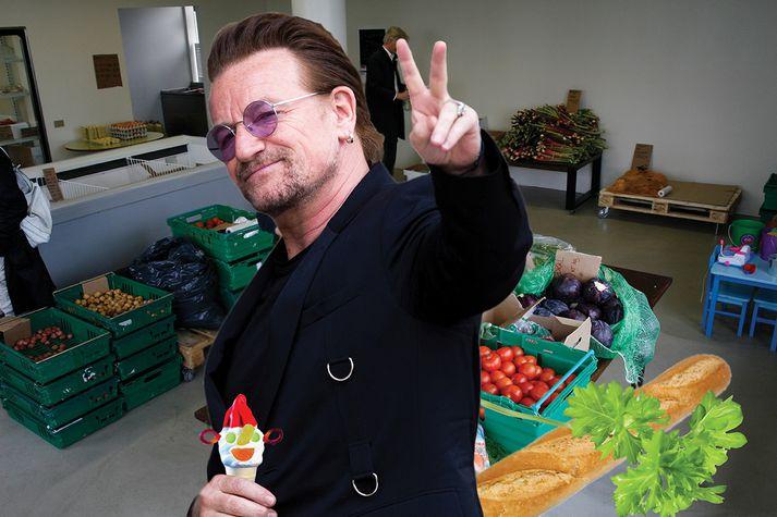 Bono flakkaði milli búða í Laugalæknum fyrr í dag.