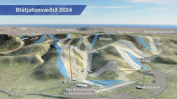 Svona er áætlað að Bláfjallasvæðið líti út árið 2024 eftir fyrirhugaða uppbyggingu.
