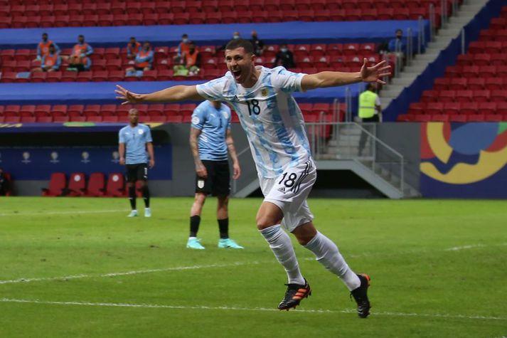 Guido Rodriguez, miðjumaður Real Betis, skallaði fyrirgjöf Messis í stöng og inn.