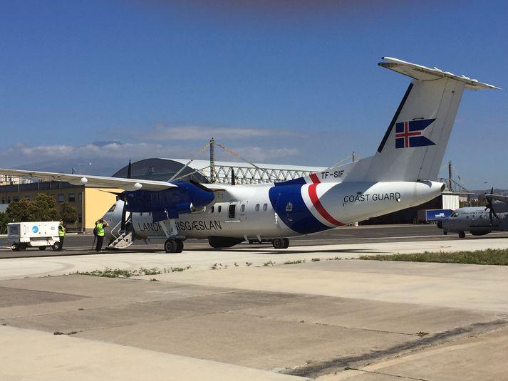 TF-SIF, flugvél Landhelgisgæslunnar, sinnir nú landamæraeftirliti á Miðjarðarhafi.