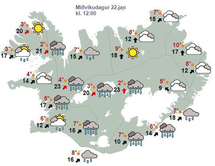 Það snýst í suðvestan 15-23 m/s síðdegis með éljum og kólnandi veðri, en rofar til um landið austanvert.