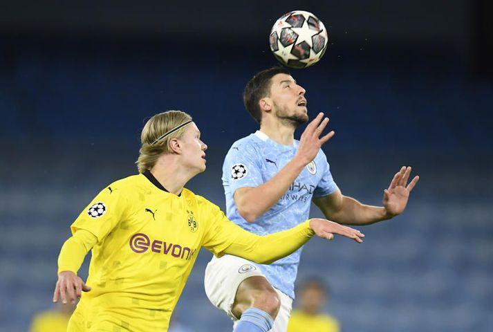 Manchester City er með eins marks forskot eftir fyrri leikinn gegn Borussia Dortmund í undanúrslitum Meistaradeildar Evrópu.