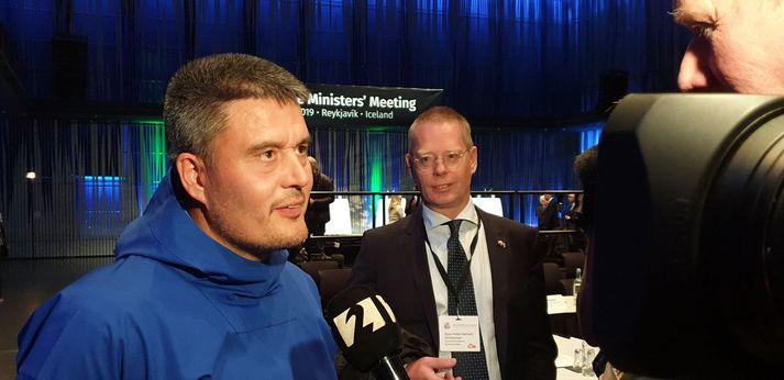 Kim Kielsen í viðtali við Stöð 2 á fundi forsætisráðherra Norðurlandanna í Hörpu í Reykjavík í síðustu viku.