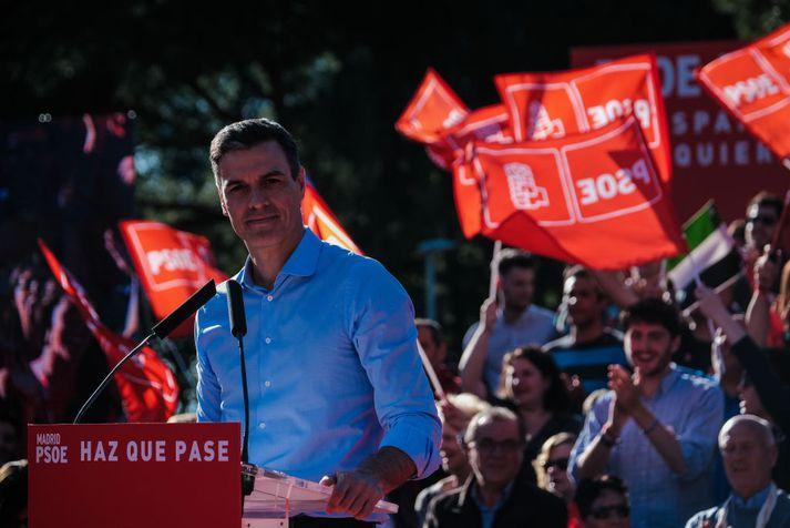Frá síðasta kosningafundi Sósíalistaflokks Pedro Sánchez á föstudag.