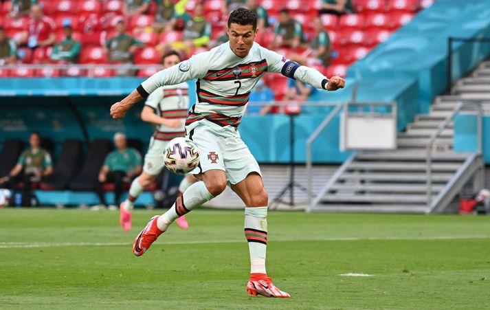 Cristiano Ronaldo varð í dag markahæsti leikmaður í sögu lokakeppni EM.