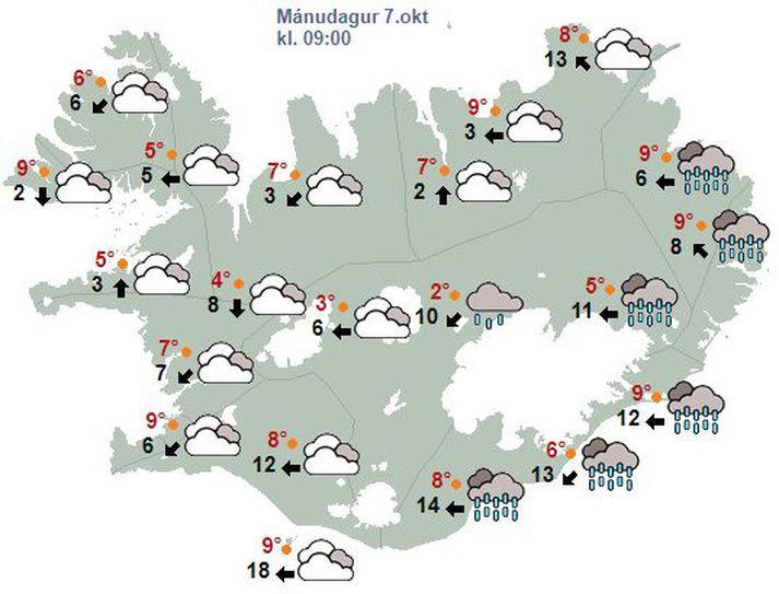 Búast má við talsverðri rigningu á Austurlandi.