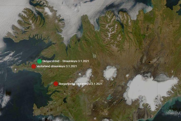 Skjáskot af vef RARIK sem sýnir straumleysi á Vesturlandi og í Borgarfirði.