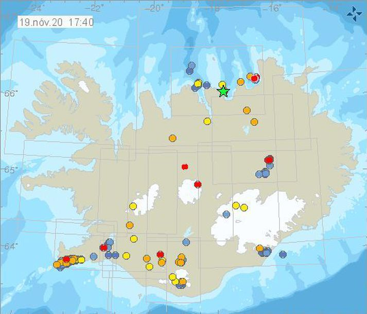 Jarðskjálfti af stærðinni 3,0 varð nærri Flatey á Skjálfanda síðdegis í dag.