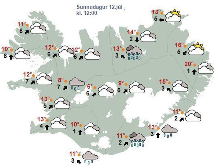 Veðrið á hádegi í dag.