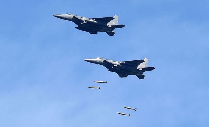 Suður-kóreskar F-15k-orrustuþotur við æfingar. Myndin er úr safni.