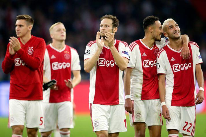 Leikmenn Ajax, þar á meðal Daley Blind, fagna í kvöld.