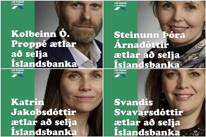 Hópurinn Við, fólkið í landinu, hefur að undanförnu birt á samfélagsmiðlum auglýsingar þar sem fjórir þingmenn Vg, sem taka þátt í forvali flokksins í Reykjavík, birtast sem eindregnir stuðningsmenn sölu Íslandsbanka.