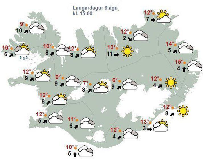 Spákort Veðurstofunnar fyrir klukann 15 eins og það leit út í morgun.