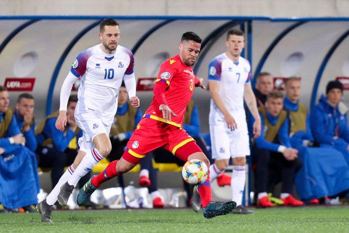 Marc Vales skoraði sigurmark Andorra. Hér er hann í fyrri leiknum gegn Íslandi sem fór 0-2 fyrir okkar mönnum.