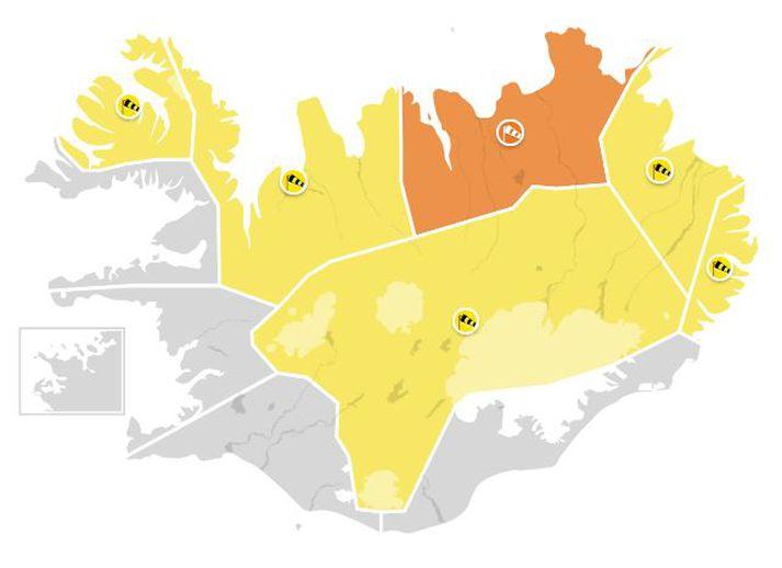 Guðviðvörun er á Vestfjörðum, Ströndum og Norðurlandi vestra, hálendinu og á Austfjörðum.