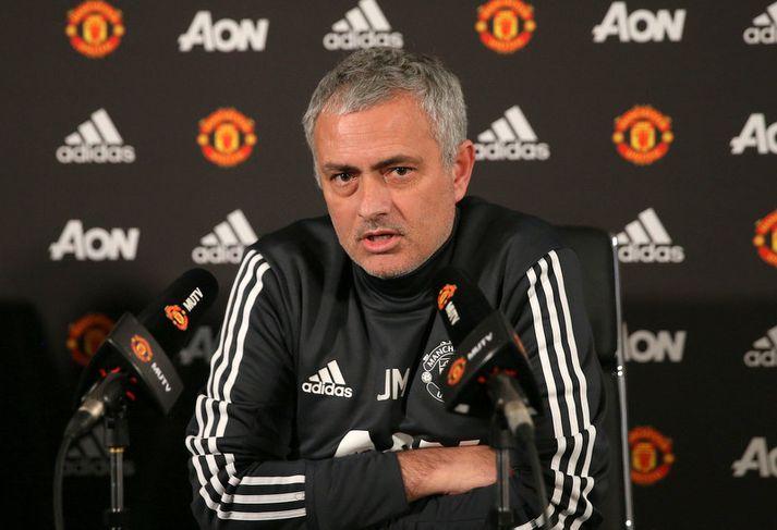 Jose Mourinho á blaðamannafundinum í gær,