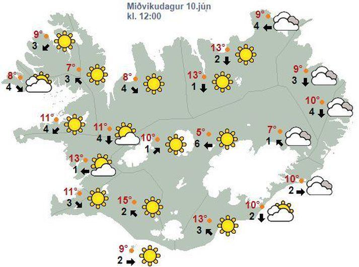 Veðurspáin fyrir hádegið í dag.