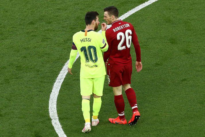 Lionel Messi var skiljanlega mjög ósáttur með framkomu Andy Robertson.