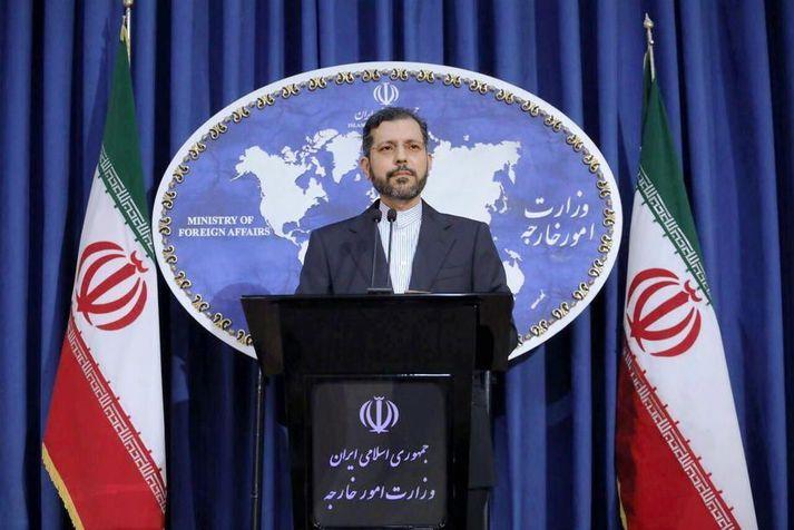 Saied Khatibzadeh, talsmaður íranska utanríkisráðuneytisins, dró fréttaflutning af aftöku Abu Muhammad al-Marsi í efa á blaðamannafundi í Tehran í dag.