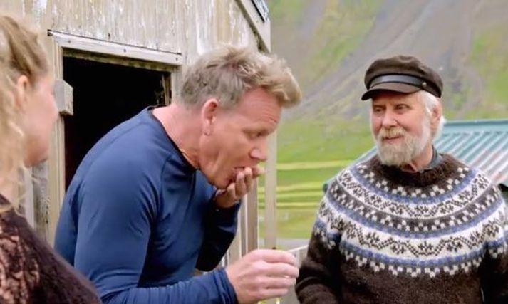 Hér má sjá Ramsay gera tilraun til að gleypa hákarlinn á meðan Finnbogi Bernódusson hlær að honum.