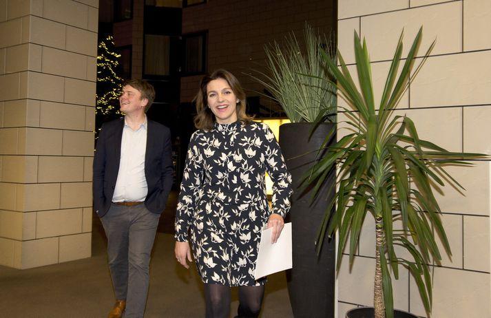 Andrés Ingi Jónsson og Rósa Björk Brynjólfsdóttir á Grand Hótel í gærkvöldi þar sem flokksráðsfundur VG fór fram.