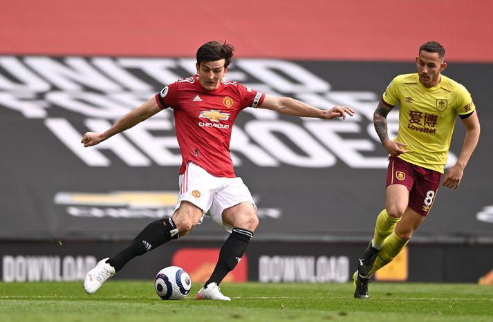 Harry Maguire í leiknum gegn Burnley á sunnudaginn sem Manchester United vann, 3-1.