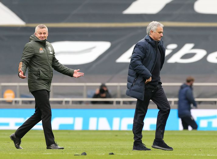 Ole Gunnar Solskjær og José Mourinho eftir leik gærdagsins.