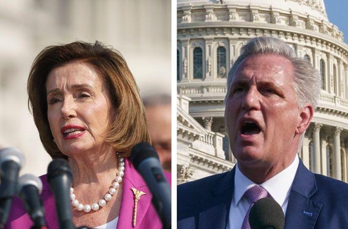 Nancy Pelosi og Kevin McCarthy.