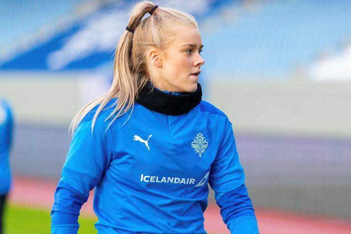 Barbára Sól Gísladóttir á fyrstu æfingu sinni með A-landsliðinu.