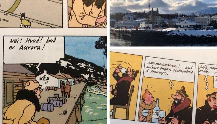 Tinni kom til Akureyrar í bókinni um Dularfullu stjörnuna.