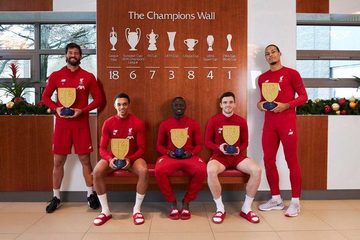 Leikmenn Liverpool sem komust í úrvalslið FIFA 20. Talið frá vinstri: Alisson, Trent Alexander-Arnold, Sadio Mané, Andrew Robertson og Virgil van Dijk.