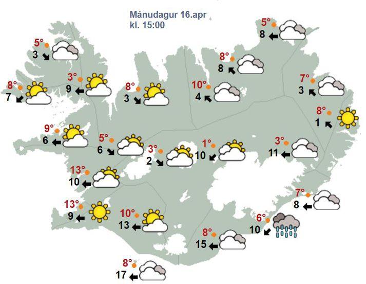 Samkvæmt spákorti Veðurstofunnar stefnir í fínan dag víða um land.