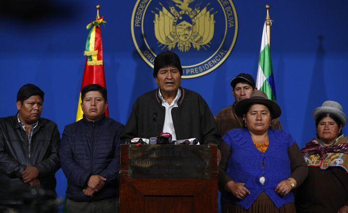 Evo Morales ávarpaði þjóð sína í gær.