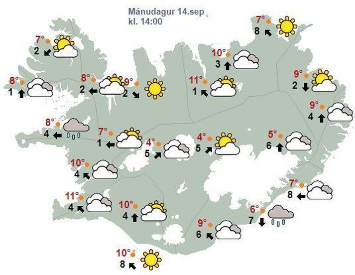 Spákort Veðurstofunnar fyrir klukkan 14 eins og það leit út í morgun.