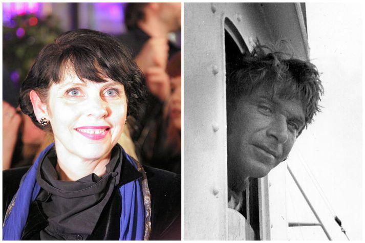 Birgitta sést hér á mynd til vinstri og faðir hennar, Jón Ólafsson skipstjóri, til hægri. Myndina af Jóni tók Bergþóra Árnadóttir, móðir Birgittu.