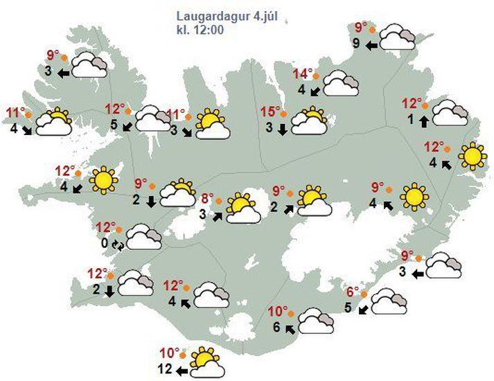 Veðurspáin fyrir allt landið á hádegi í dag.