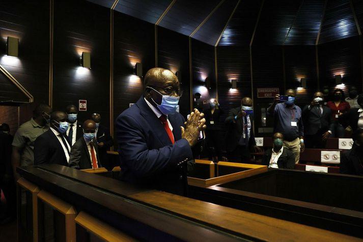Jacob Zuma í dómsal í morgun.