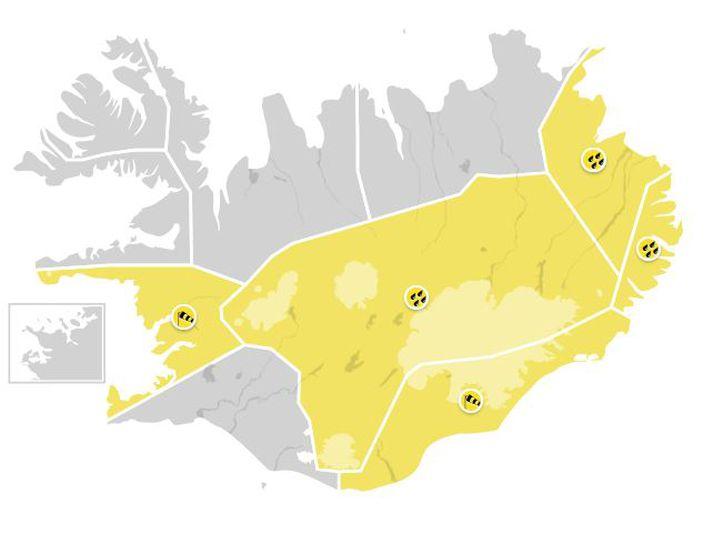 Gul viðvörun vegna veðurs er í gildi á Faxaflóa, Austurlandi að Glettingi, Austfjörðum, Suðausturlandi og Miðhálendinu.