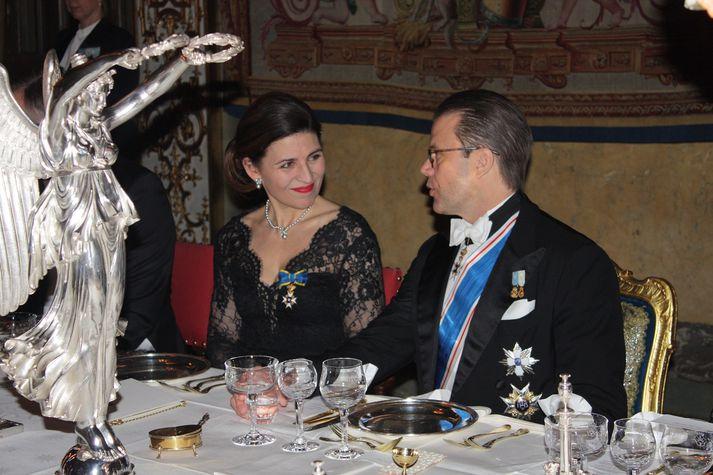 Ágústa Johnson og Daníel prins, eiginmaður Viktoríu krónprinsessu.