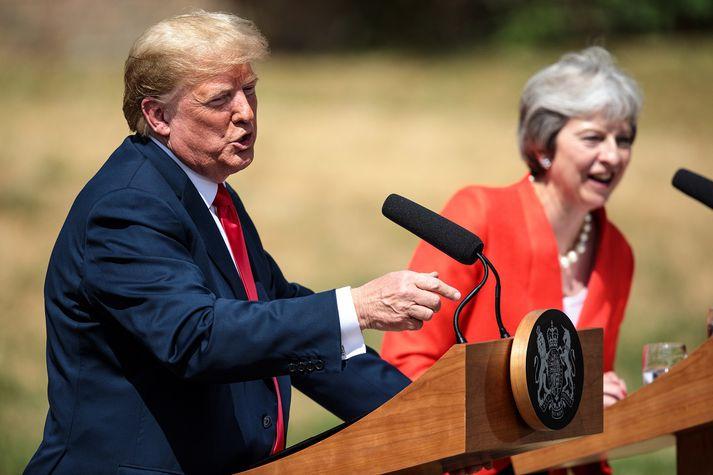 Blaðamannafundur Trump og May eftir fund þeirra í vikunni.