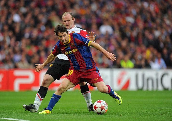 Wayne Rooney og Lionel Messi í úrslitaleik Meistaradeildar Evrópu 2011 þar sem Barcelona sigraði Manchester United, 3-1. Rooney og Messi skoruðu báðir í leiknum.
