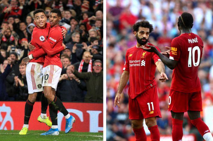 Marcus Rashford og Mason Greenwood til vinstri en Mohamed Salah og Sadio Mané til hægri.