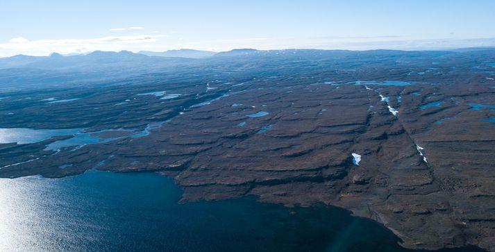 Drónamynd sem þeir Tómas Guðbjartsson og Ólafur Már Björnsson tóku af landsvæðinu sem fer undir vatn með Hvalárvirkjun.