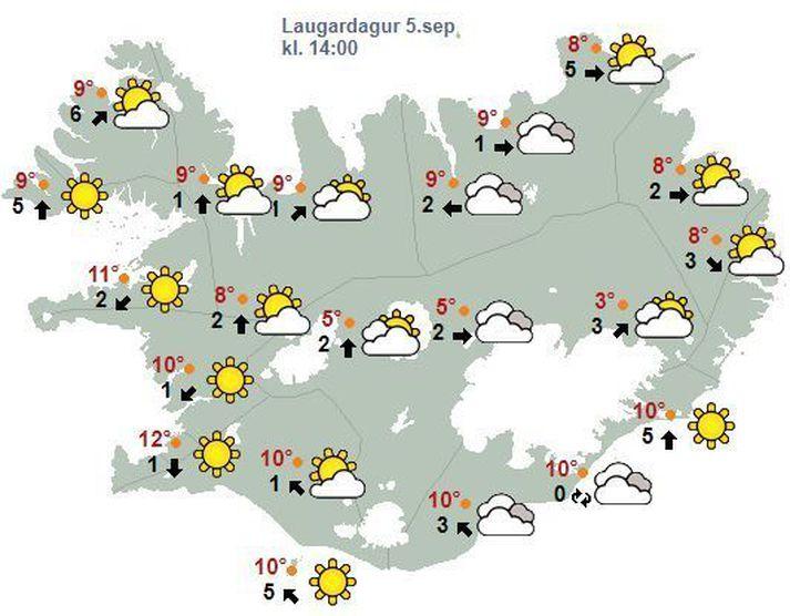 Spákort Veðurstofunnar fyrir klukkan 14, eins og það leit út í klukkan 7.